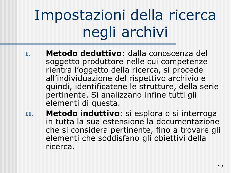 12 Impostazioni della ricerca negli archivi I.