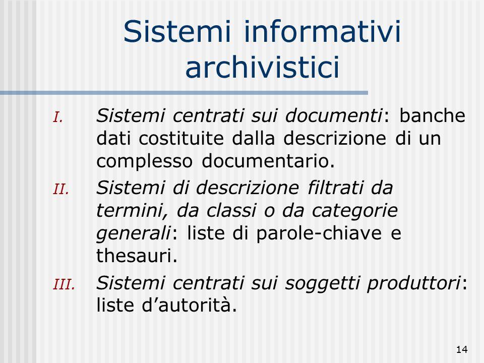 14 Sistemi informativi archivistici I.