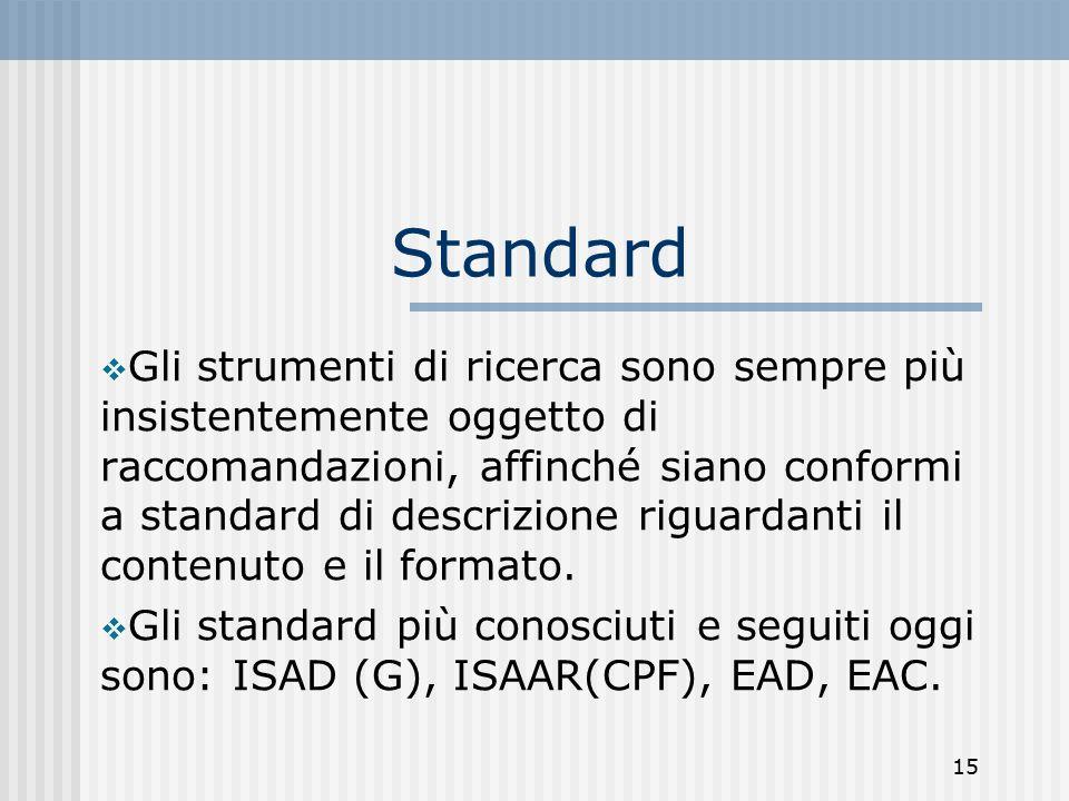 15 Standard  Gli strumenti di ricerca sono sempre più insistentemente oggetto di raccomandazioni, affinché siano conformi a standard di descrizione riguardanti il contenuto e il formato.
