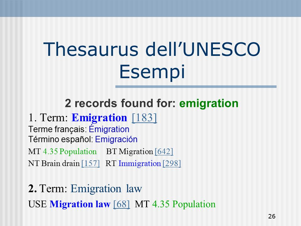 26 Thesaurus dell'UNESCO Esempi 2 records found for: emigration 1. Term: Emigration [183][183] Terme français: Émigration Término español: Emigración