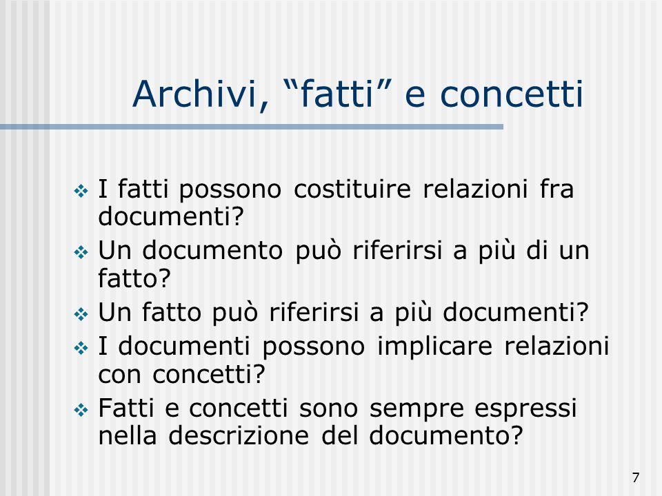 7 Archivi, fatti e concetti  I fatti possono costituire relazioni fra documenti.