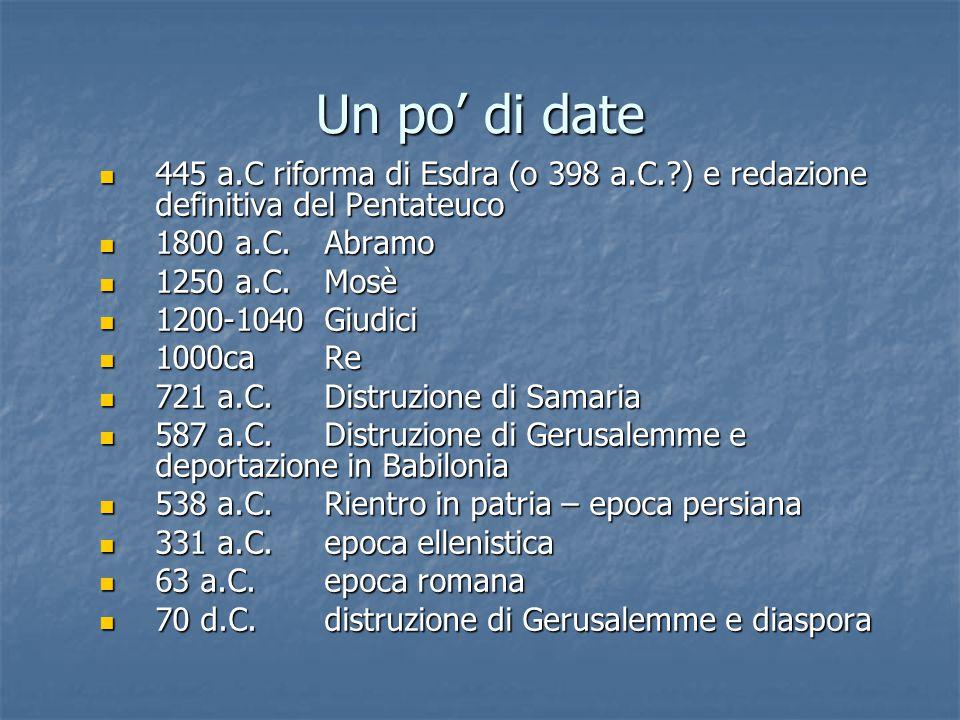 Un po' di date 445 a.C riforma di Esdra (o 398 a.C. ) e redazione definitiva del Pentateuco 445 a.C riforma di Esdra (o 398 a.C. ) e redazione definitiva del Pentateuco 1800 a.C.