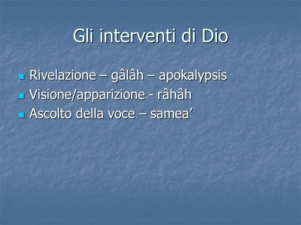 Gli interventi di Dio Rivelazione – gâlâh – apokalypsis Rivelazione – gâlâh – apokalypsis Visione/apparizione - râhâh Visione/apparizione - râhâh Asco
