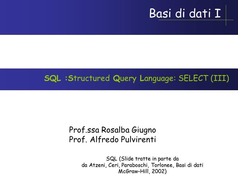 Basi di dati I Prof.ssa Rosalba Giugno Prof.