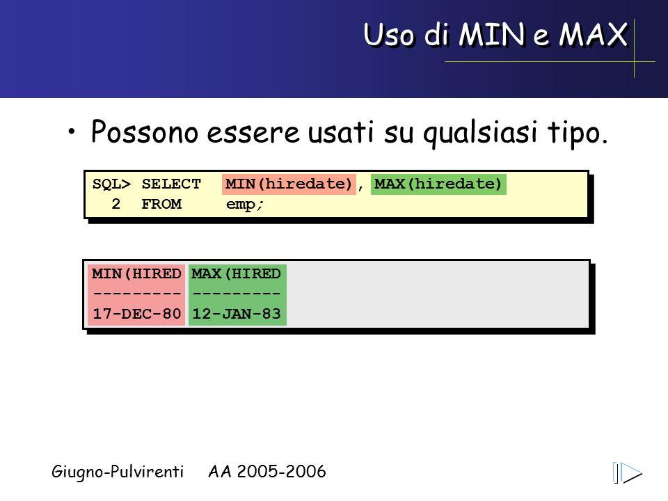 Giugno-Pulvirenti AA 2005-2006 Uso di MIN e MAX Possono essere usati su qualsiasi tipo.