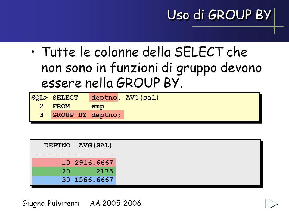 Giugno-Pulvirenti AA 2005-2006 Uso di GROUP BY Tutte le colonne della SELECT che non sono in funzioni di gruppo devono essere nella GROUP BY.