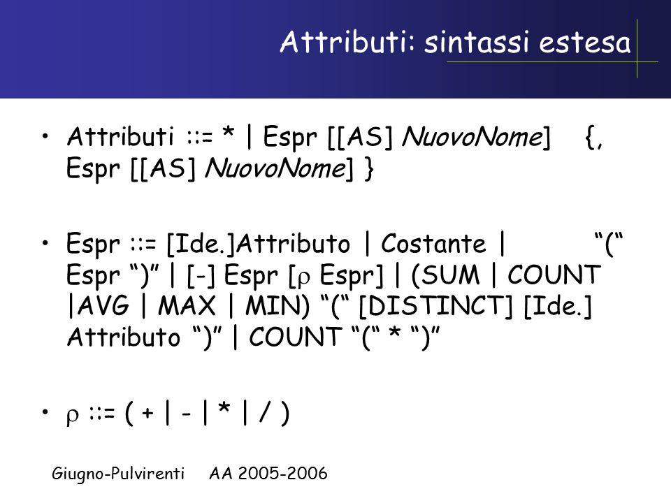 Giugno-Pulvirenti AA 2005-2006 WHERE o HAVING.