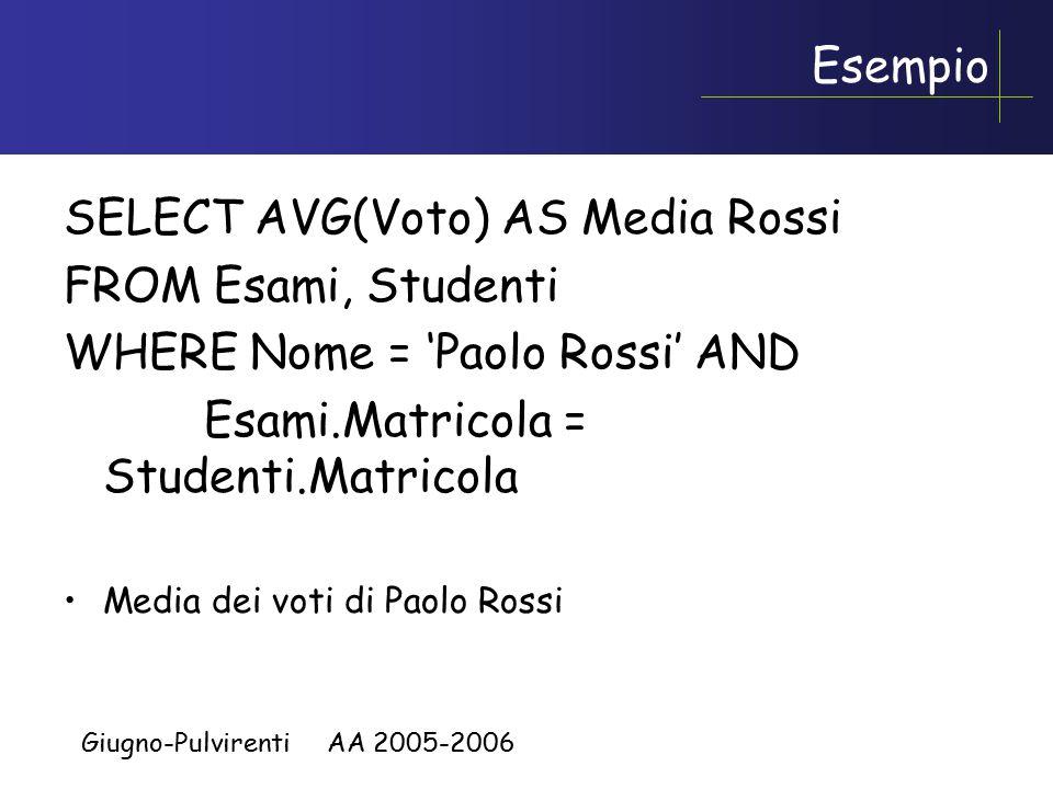 Giugno-Pulvirenti AA 2005-2006 Semantica delle espressioni correlate , 2 Esempio, trovare tutti gli studenti che NON hanno un omonimo: –SELECT * FROM Student S WHERE NOT EXISTS (SELECT * FROM Student S2 WHERE S2.Nome = S.Nome AND S2.Cognome = S.Cognome AND S2.Matricola <> S.Matricola)