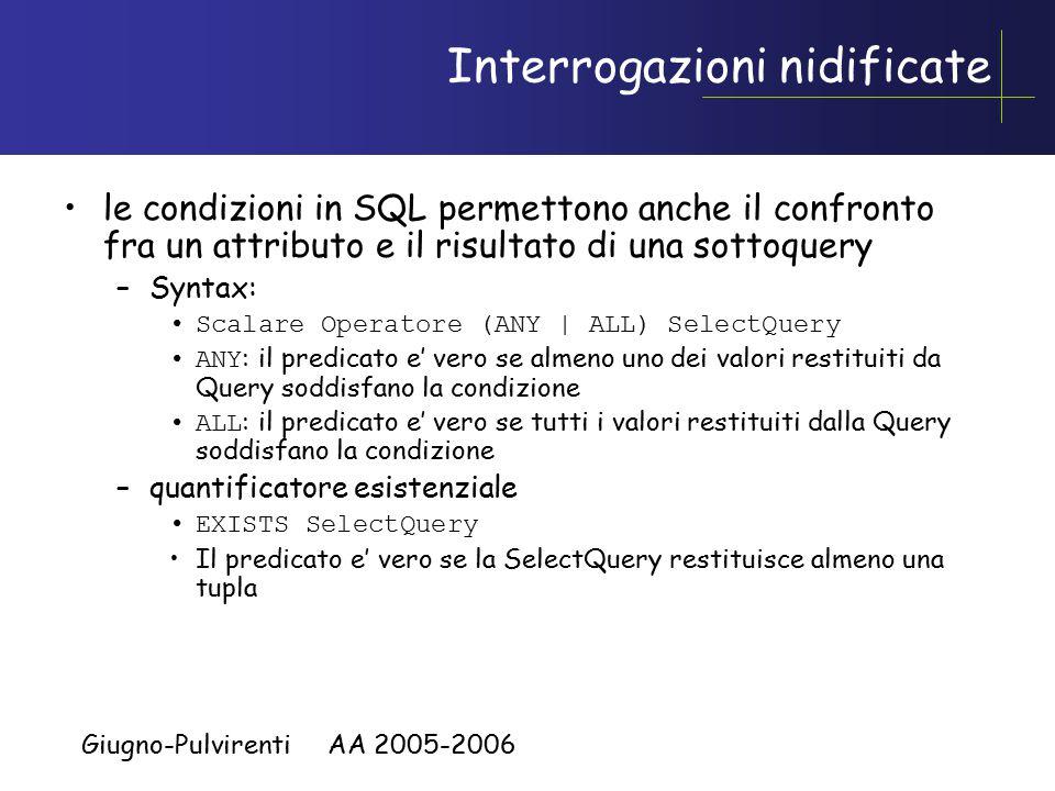 Giugno-Pulvirenti AA 2005-2006 Interrogazioni nidificate le condizioni in SQL permettono anche il confronto fra un attributo e il risultato di una sottoquery –Syntax: Scalare Operatore (ANY | ALL) SelectQuery ANY : il predicato e' vero se almeno uno dei valori restituiti da Query soddisfano la condizione ALL : il predicato e' vero se tutti i valori restituiti dalla Query soddisfano la condizione –quantificatore esistenziale EXISTS SelectQuery Il predicato e' vero se la SelectQuery restituisce almeno una tupla