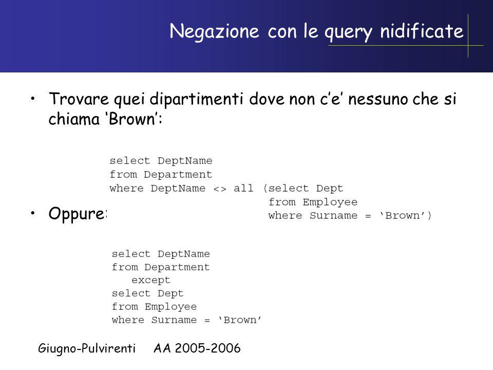Giugno-Pulvirenti AA 2005-2006 Negazione con le query nidificate Trovare quei dipartimenti dove non c'e' nessuno che si chiama 'Brown': Oppure: