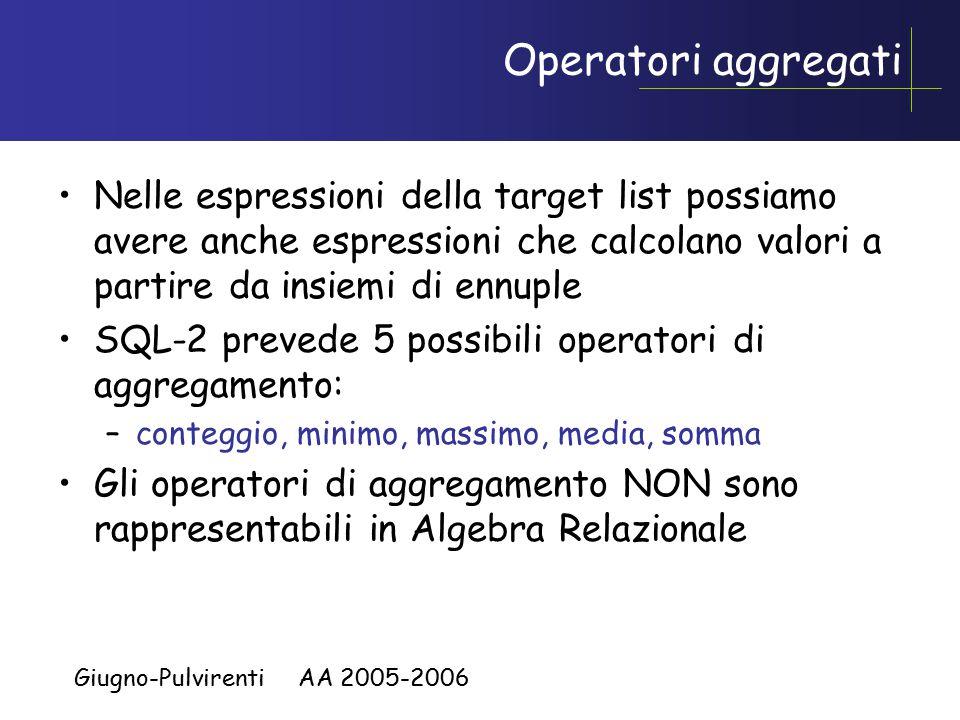 Giugno-Pulvirenti AA 2005-2006 Operatori aggregati Nelle espressioni della target list possiamo avere anche espressioni che calcolano valori a partire da insiemi di ennuple SQL-2 prevede 5 possibili operatori di aggregamento: –conteggio, minimo, massimo, media, somma Gli operatori di aggregamento NON sono rappresentabili in Algebra Relazionale