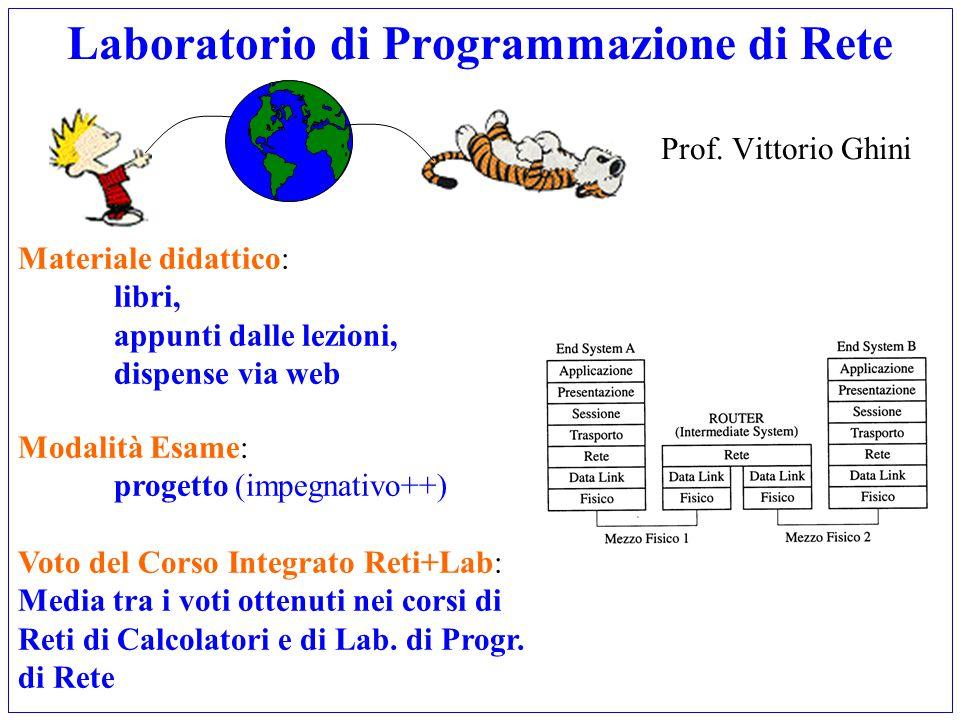 Laboratorio di Programmazione di Rete Prof. Vittorio Ghini Materiale didattico: libri, appunti dalle lezioni, dispense via web Modalità Esame: progett