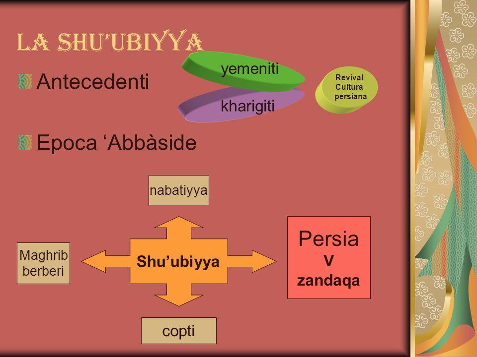 La shu'ubiyya Antecedenti Epoca 'Abbàside kharigiti yemeniti Revival Cultura persiana Shu'ubiyya Maghrib berberi nabatiyya Persia V zandaqa copti