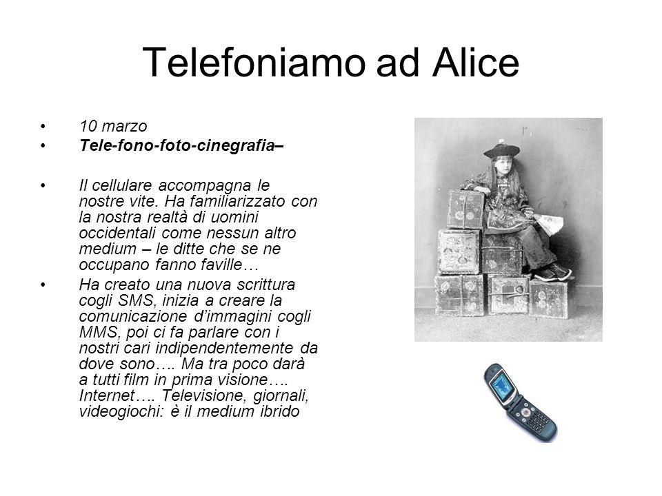 Telefoniamo ad Alice 10 marzo Tele-fono-foto-cinegrafia– Il cellulare accompagna le nostre vite.