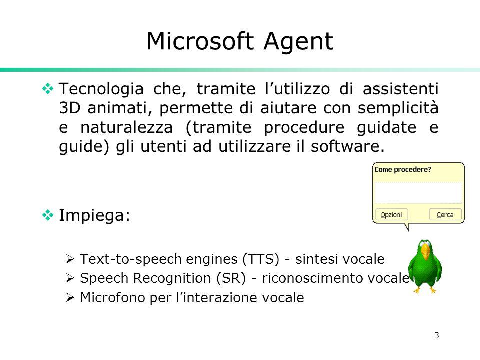 3 Microsoft Agent  Tecnologia che, tramite l'utilizzo di assistenti 3D animati, permette di aiutare con semplicità e naturalezza (tramite procedure g