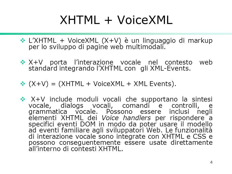 4 XHTML + VoiceXML  L'XHTML + VoiceXML (X+V) è un linguaggio di markup per lo sviluppo di pagine web multimodali.  X+V porta l'interazione vocale ne
