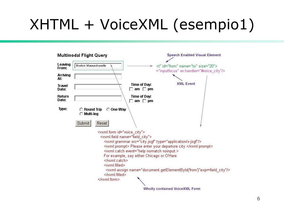 6 XHTML + VoiceXML (esempio1)