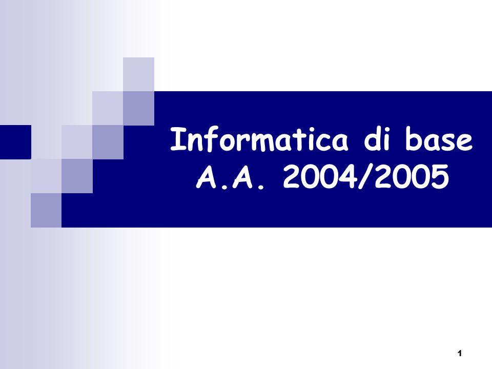 1 Informatica di base A.A. 2004/2005