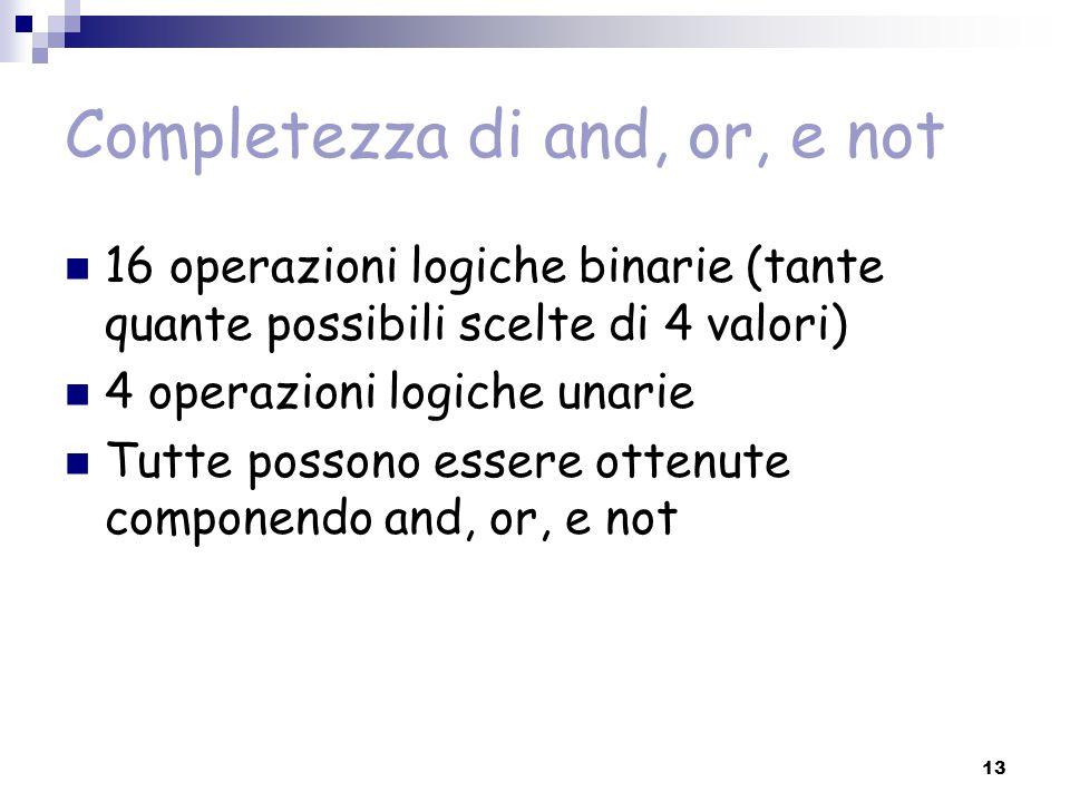 13 Completezza di and, or, e not 16 operazioni logiche binarie (tante quante possibili scelte di 4 valori) 4 operazioni logiche unarie Tutte possono e