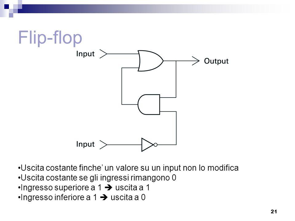 21 Flip-flop Uscita costante finche' un valore su un input non lo modifica Uscita costante se gli ingressi rimangono 0 Ingresso superiore a 1  uscita