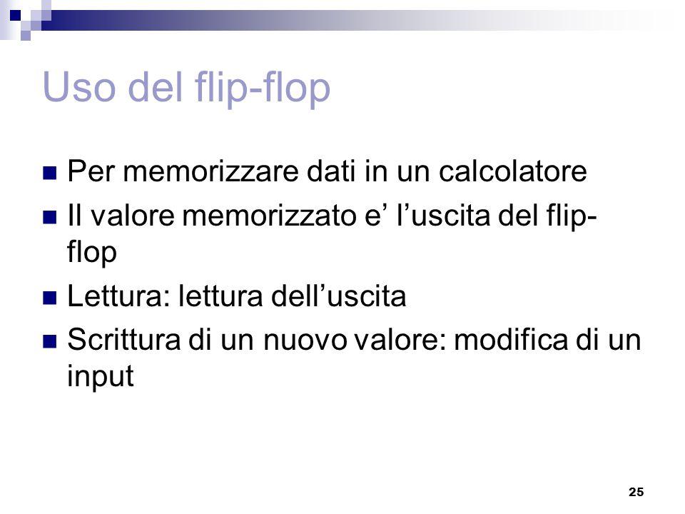 25 Uso del flip-flop Per memorizzare dati in un calcolatore Il valore memorizzato e' l'uscita del flip- flop Lettura: lettura dell'uscita Scrittura di
