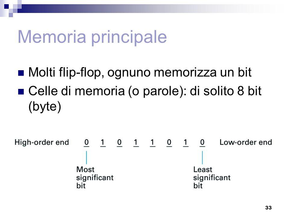 33 Memoria principale Molti flip-flop, ognuno memorizza un bit Celle di memoria (o parole): di solito 8 bit (byte)