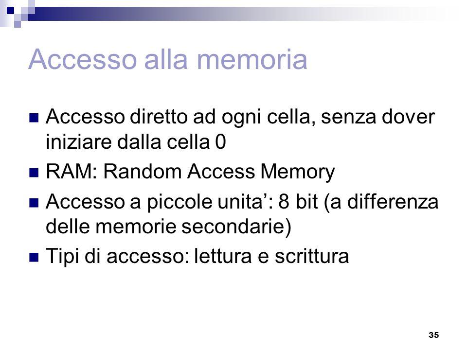 35 Accesso alla memoria Accesso diretto ad ogni cella, senza dover iniziare dalla cella 0 RAM: Random Access Memory Accesso a piccole unita': 8 bit (a