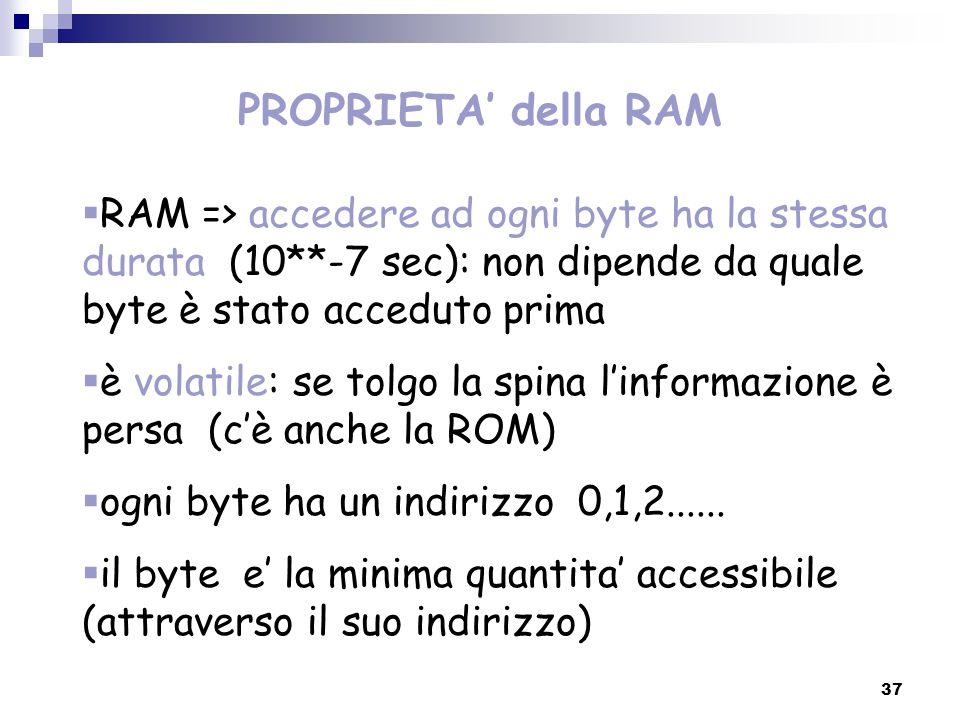 37  RAM => accedere ad ogni byte ha la stessa durata (10**-7 sec): non dipende da quale byte è stato acceduto prima  è volatile: se tolgo la spina l