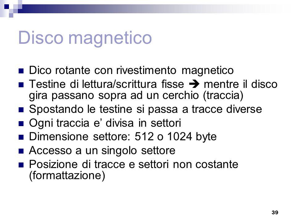 39 Disco magnetico Dico rotante con rivestimento magnetico Testine di lettura/scrittura fisse  mentre il disco gira passano sopra ad un cerchio (trac