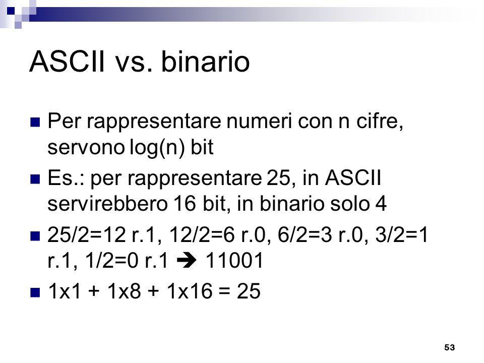 53 ASCII vs. binario Per rappresentare numeri con n cifre, servono log(n) bit Es.: per rappresentare 25, in ASCII servirebbero 16 bit, in binario solo