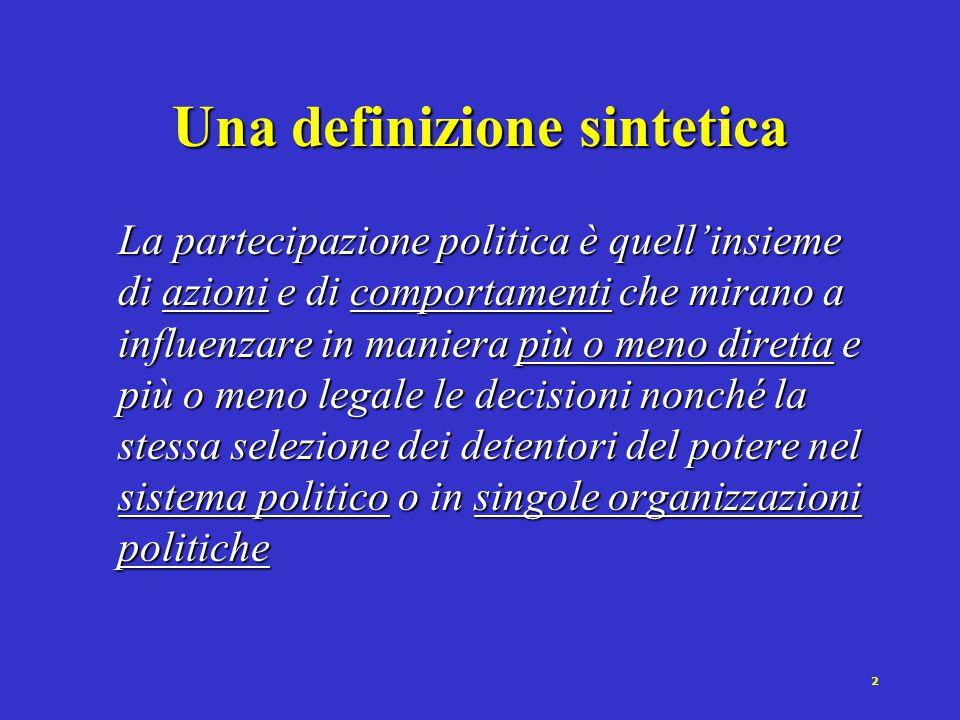 1 Verso una definizione di partecipazione politica Il coinvolgimento dell'individuo nel sistema politico, a vari livelli di attività, dal disinteresse totale alla titolarietà di una carica politica [Rush, 1992] L'insieme di quei comportamenti dei cittadini orientati ad influenzare il processo politico [Axford, 1997]
