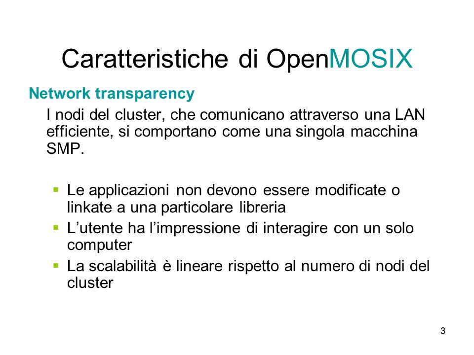3 Caratteristiche di OpenMOSIX Network transparency I nodi del cluster, che comunicano attraverso una LAN efficiente, si comportano come una singola macchina SMP.