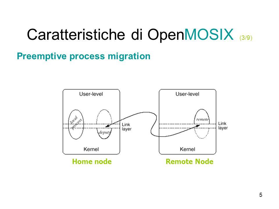 6 Caratteristiche di OpenMOSIX (4/9) Preemptive process migration: limiti Alcuni processi non possono essere divisi in deputy e remote.