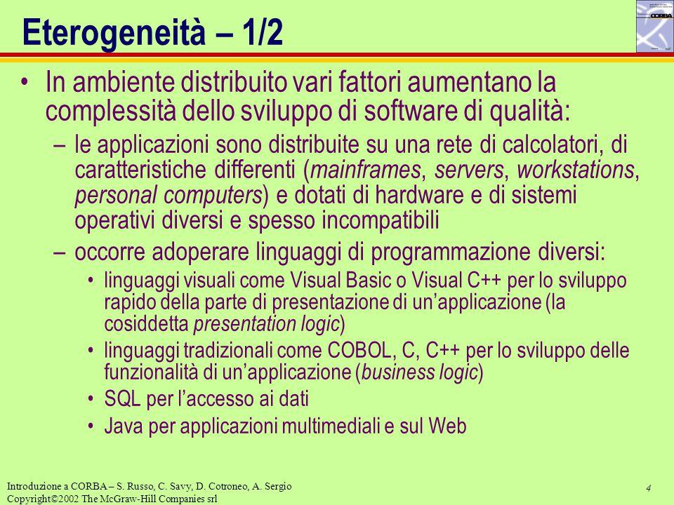 4 Introduzione a CORBA – S. Russo, C. Savy, D. Cotroneo, A. Sergio Copyright©2002 The McGraw-Hill Companies srl Eterogeneità – 1/2 In ambiente distrib