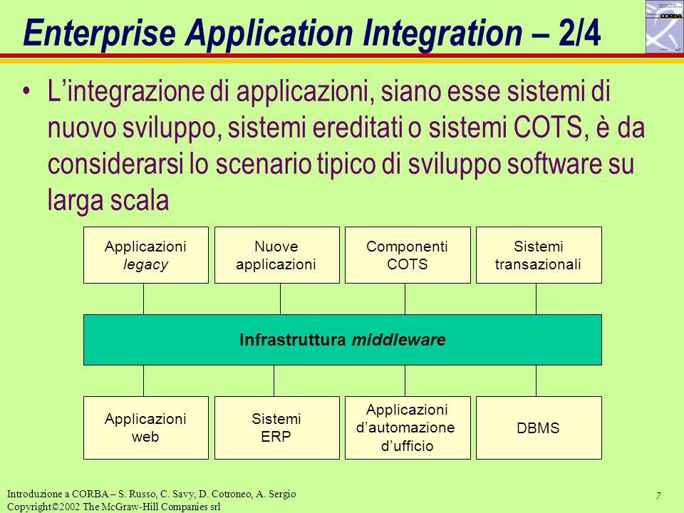 7 Introduzione a CORBA – S. Russo, C. Savy, D. Cotroneo, A. Sergio Copyright©2002 The McGraw-Hill Companies srl Enterprise Application Integration – 2