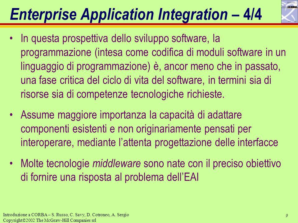9 Introduzione a CORBA – S. Russo, C. Savy, D. Cotroneo, A. Sergio Copyright©2002 The McGraw-Hill Companies srl Enterprise Application Integration – 4