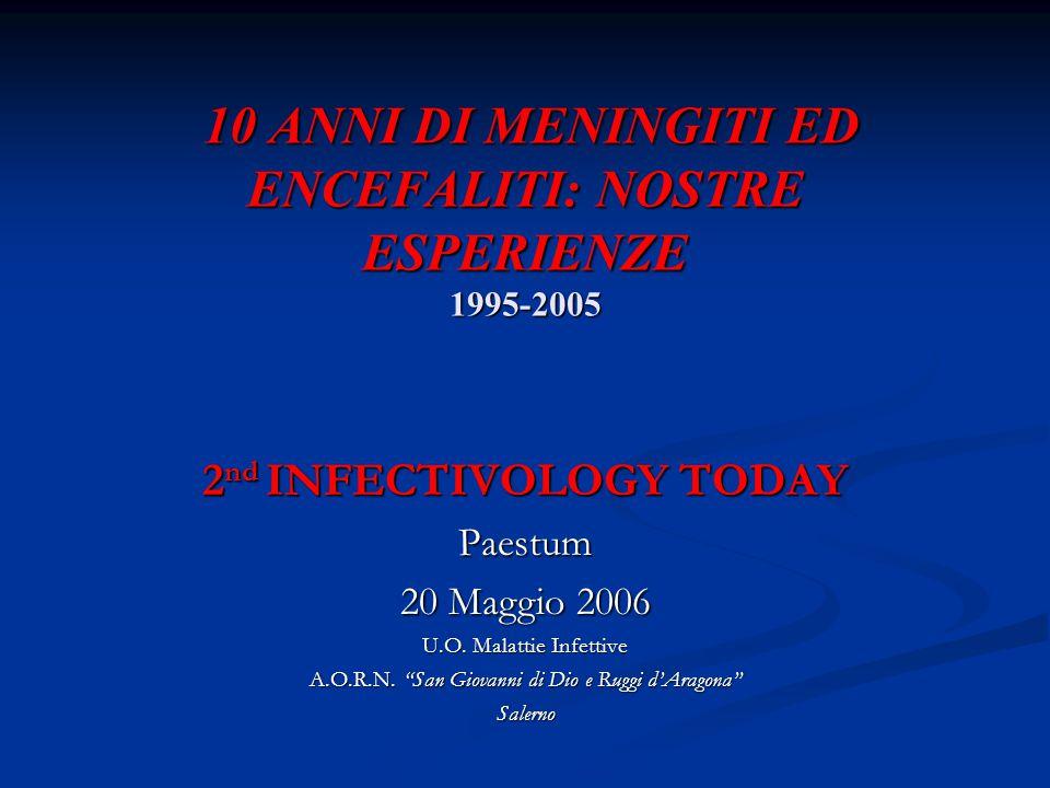 10 ANNI DI MENINGITI ED ENCEFALITI: NOSTRE ESPERIENZE 1995-2005 10 ANNI DI MENINGITI ED ENCEFALITI: NOSTRE ESPERIENZE 1995-2005 2 nd INFECTIVOLOGY TOD
