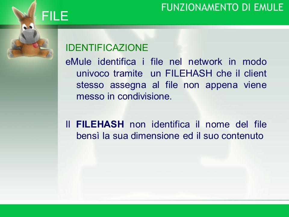 FILE IDENTIFICAZIONE eMule identifica i file nel network in modo univoco tramite un FILEHASH che il client stesso assegna al file non appena viene messo in condivisione.
