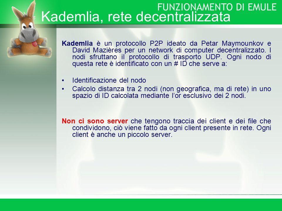 Kademlia, rete decentralizzata Kademlia è un protocollo P2P ideato da Petar Maymounkov e David Mazières per un network di computer decentralizzato.