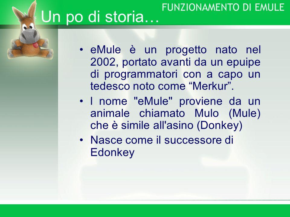 Un po di storia… eMule è un progetto nato nel 2002, portato avanti da un epuipe di programmatori con a capo un tedesco noto come Merkur .