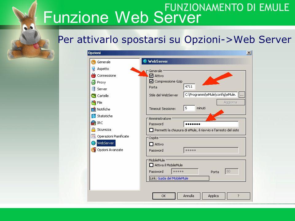 Funzione Web Server Per attivarlo spostarsi su Opzioni->Web Server