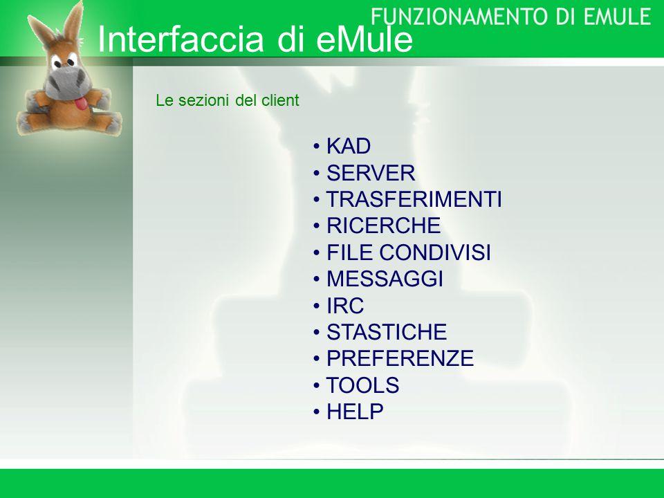 Interfaccia di eMule Le sezioni del client KAD SERVER TRASFERIMENTI RICERCHE FILE CONDIVISI MESSAGGI IRC STASTICHE PREFERENZE TOOLS HELP