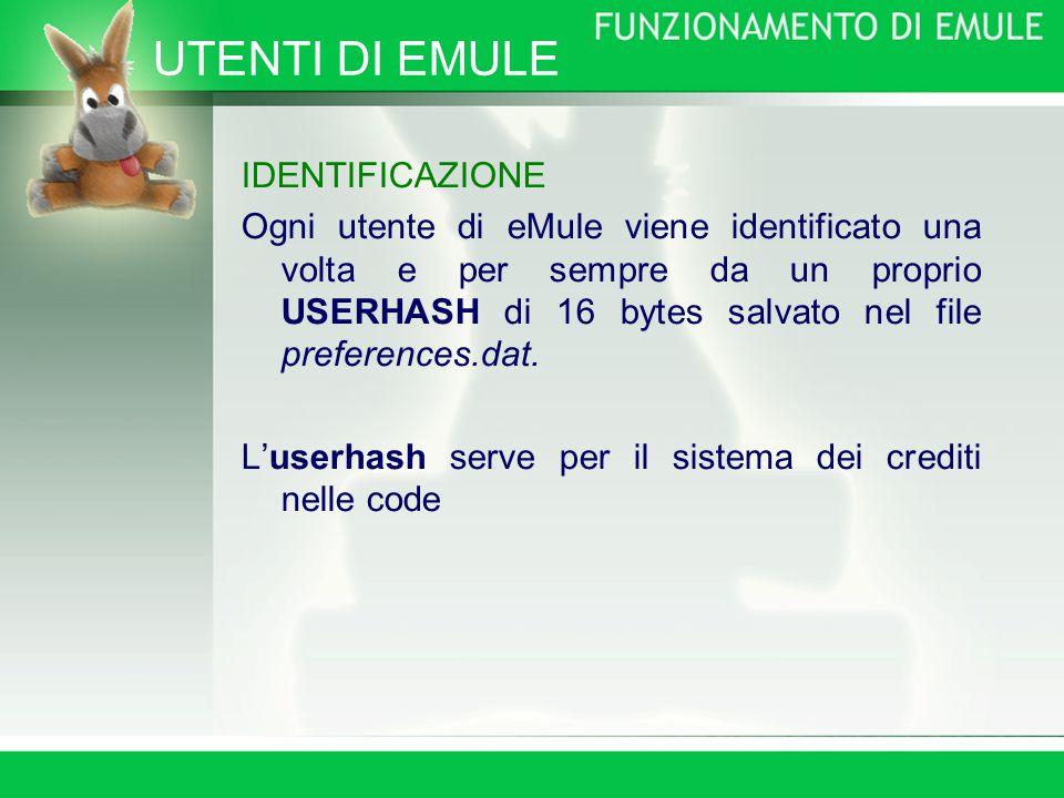 UTENTI DI EMULE IDENTIFICAZIONE Ogni utente di eMule viene identificato una volta e per sempre da un proprio USERHASH di 16 bytes salvato nel file preferences.dat.