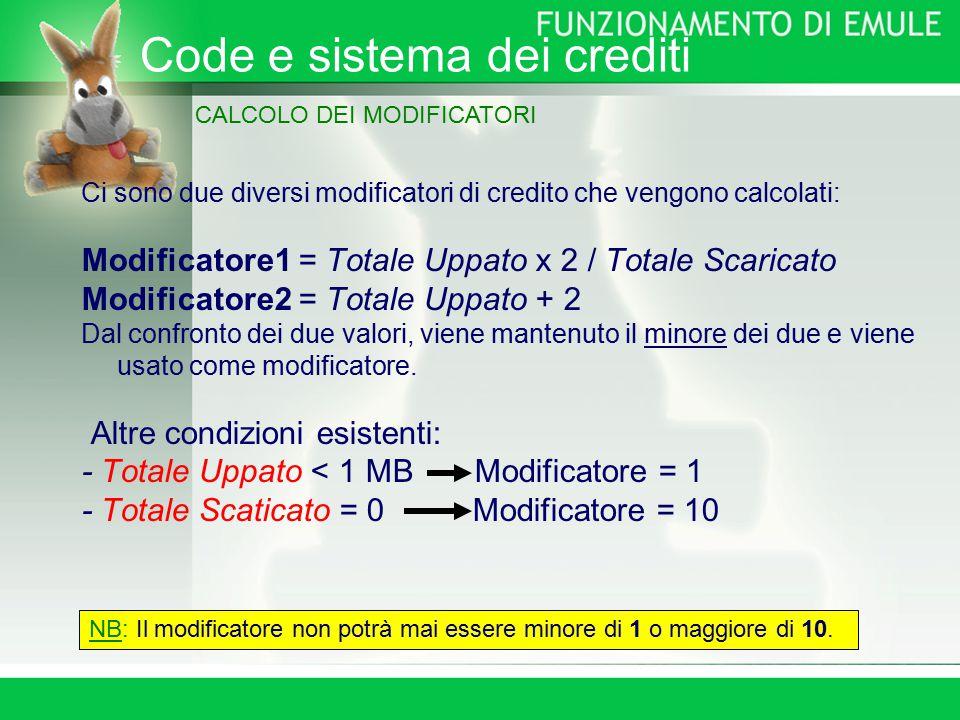 Ci sono due diversi modificatori di credito che vengono calcolati: Modificatore1 = Totale Uppato x 2 / Totale Scaricato Modificatore2 = Totale Uppato + 2 Dal confronto dei due valori, viene mantenuto il minore dei due e viene usato come modificatore.