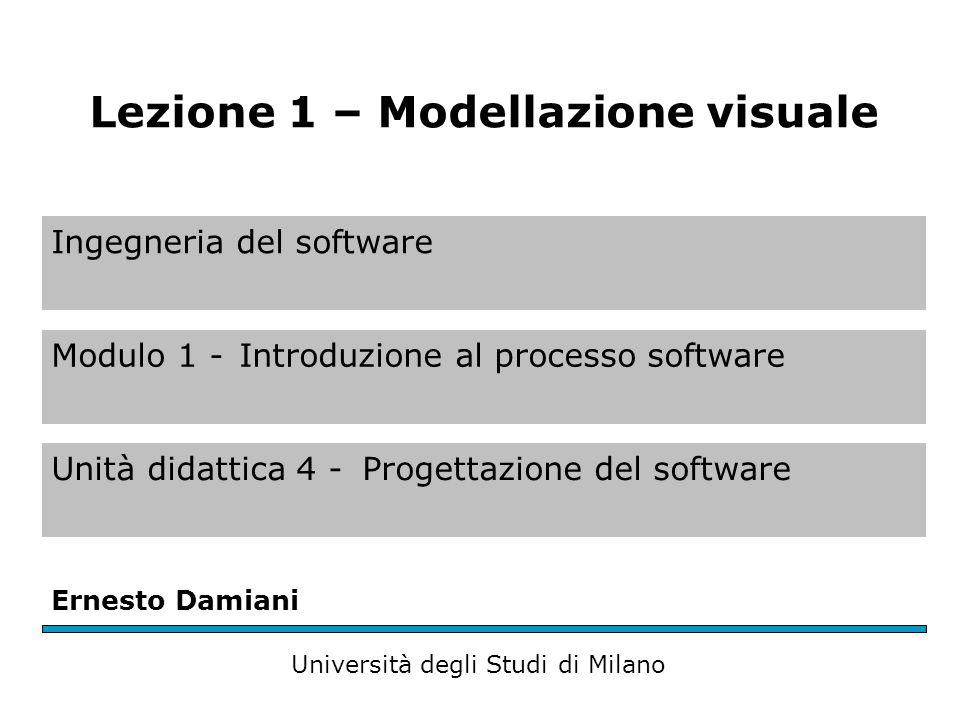 La modellazione visuale La modellazione visuale (visual modelling) è la modellazione dei sistemi con strumenti grafici La modellazione è l'attività di catturare e rappresentare le parti essenziali di un sistema (James Rumbaugh)