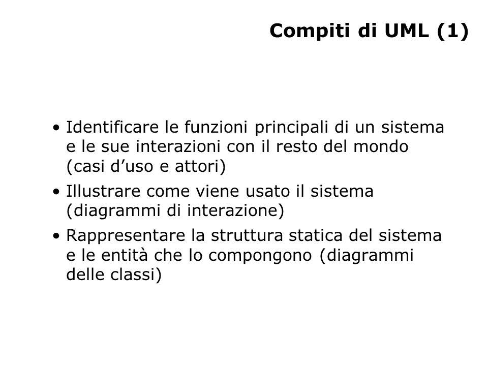 Compiti di UML (1) Identificare le funzioni principali di un sistema e le sue interazioni con il resto del mondo (casi d'uso e attori) Illustrare come viene usato il sistema (diagrammi di interazione) Rappresentare la struttura statica del sistema e le entità che lo compongono (diagrammi delle classi)