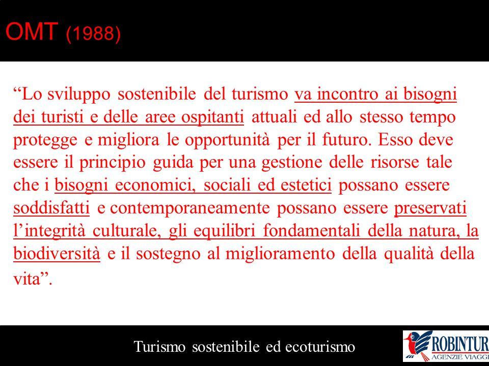 """Turismo sostenibile ed ecoturismo OMT (1988) """"Lo sviluppo sostenibile del turismo va incontro ai bisogni dei turisti e delle aree ospitanti attuali ed"""