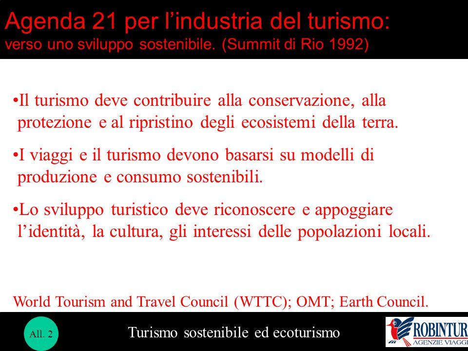 Turismo sostenibile ed ecoturismo Agenda 21 per l'industria del turismo: verso uno sviluppo sostenibile. (Summit di Rio 1992) Il turismo deve contribu