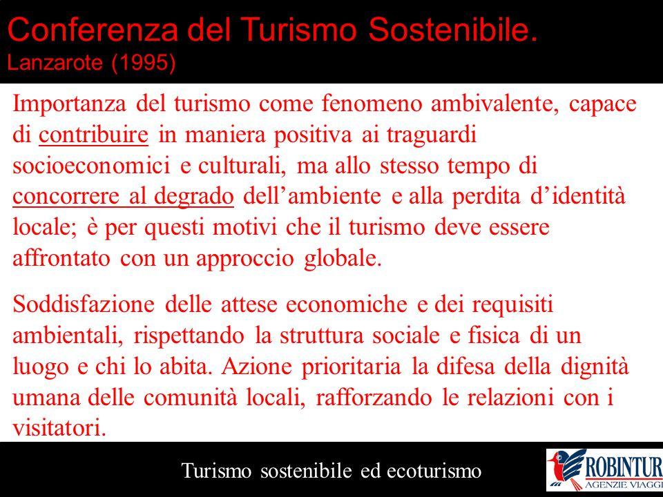 Turismo sostenibile ed ecoturismo Conferenza del Turismo Sostenibile. Lanzarote (1995) Importanza del turismo come fenomeno ambivalente, capace di con