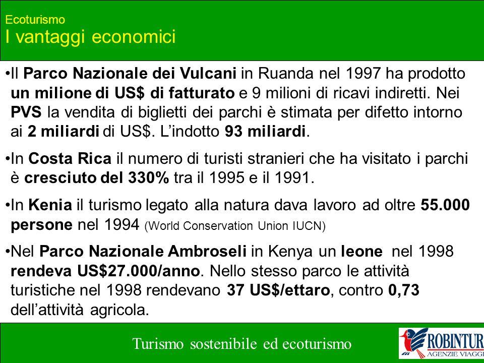 Turismo sostenibile ed ecoturismo Ecoturismo I vantaggi economici Il Parco Nazionale dei Vulcani in Ruanda nel 1997 ha prodotto un milione di US$ di f
